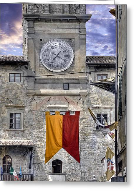 Medeival Greeting Cards - Cortona Clock Tower Greeting Card by Al Hurley