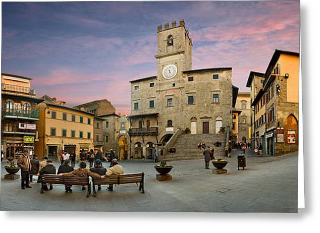 Wooden Stairs Greeting Cards - Cortona Piazza Greeting Card by Al Hurley