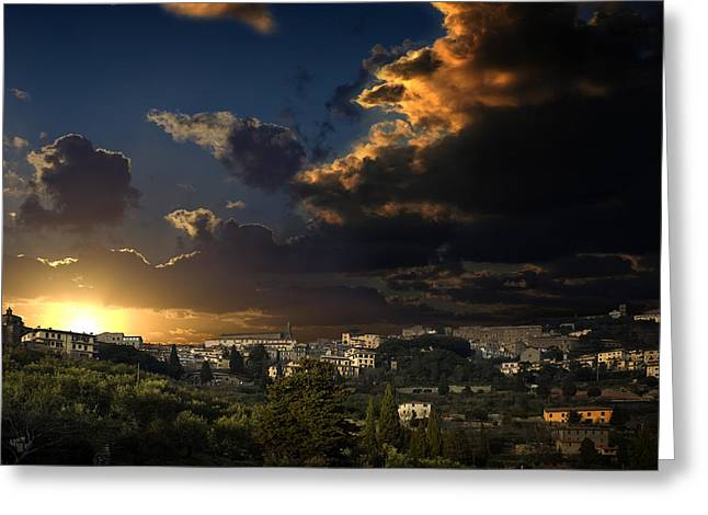 Best Sellers -  - Tuscan Sunset Greeting Cards - Cortona Sunset2 Greeting Card by Al Hurley