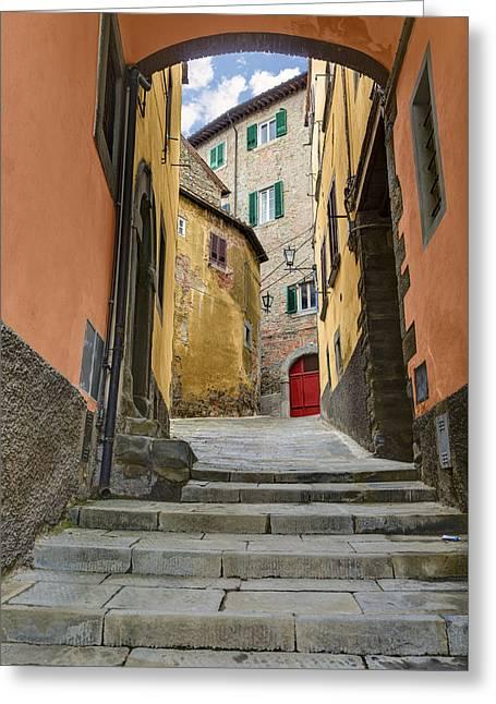 Italian Wine Greeting Cards - Cortona Viccolo Greeting Card by Al Hurley