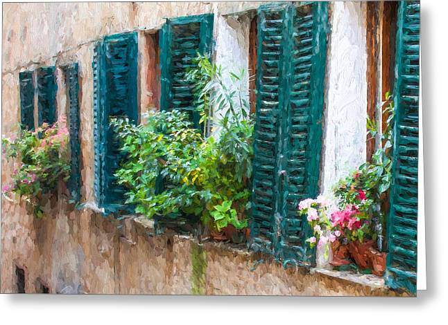 Kitchen Photos Paintings Greeting Cards - Cortona Window Flowers Greeting Card by David Letts