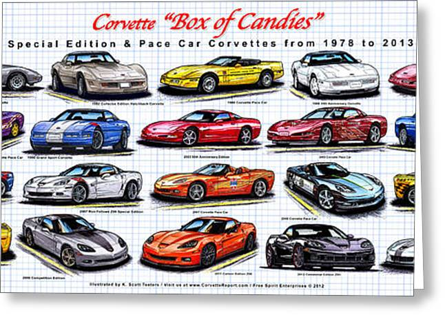 Indy Car Greeting Cards - Corvette Box of Candies - Special Edition and Indy 500 Pace Car Corvettes Greeting Card by K Scott Teeters