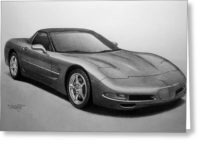 Pencil Drawings Greeting Cards - Corvette Greeting Card by Tim Dangaran