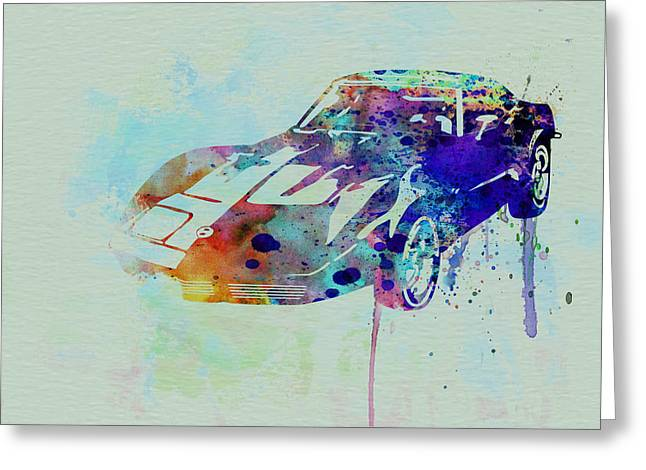 Automotive Drawings Greeting Cards - Corvette watercolor Greeting Card by Naxart Studio