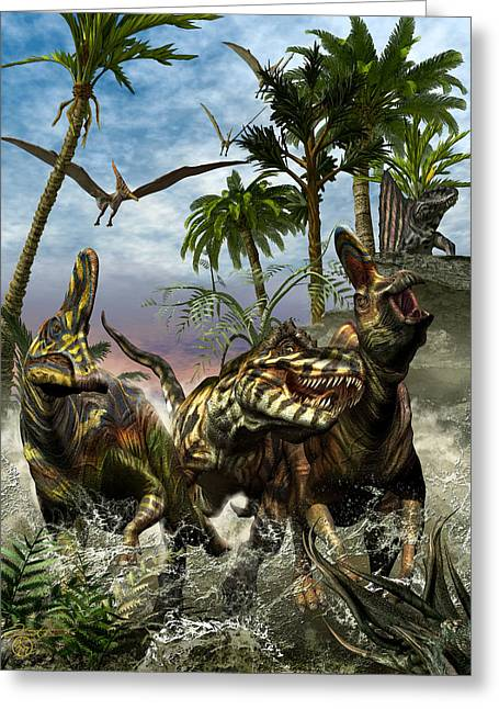 Triassic Greeting Cards - Corythosaurus Last Run Greeting Card by Kurt Miller