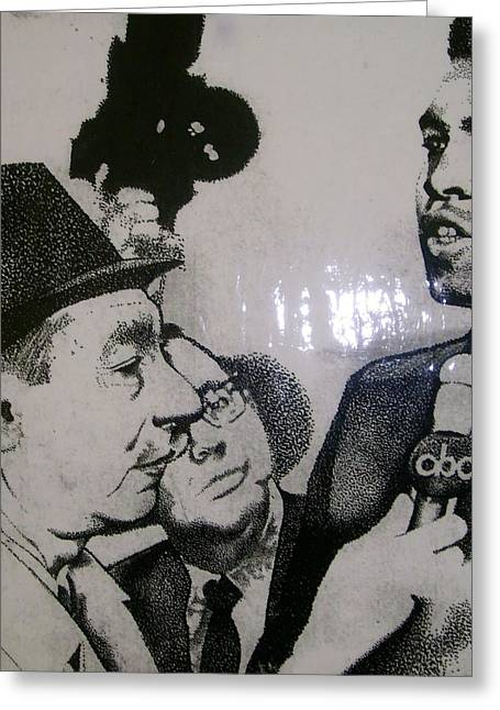 Nostalga Greeting Cards - Cosell and Clay Greeting Card by Keith Burnette