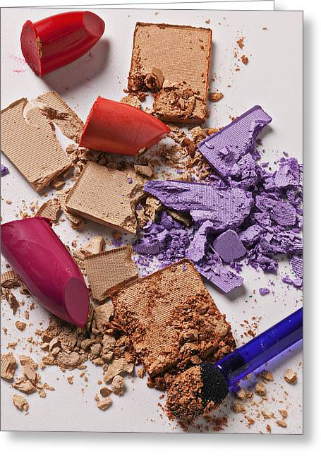 Make Up Greeting Cards - Cosmetics Mess Greeting Card by Garry Gay