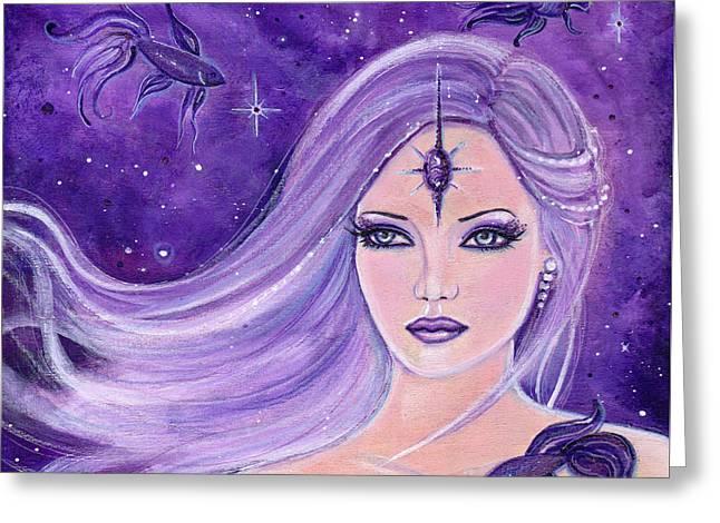 Cosmic Bettas Greeting Card by Renee Lavoie