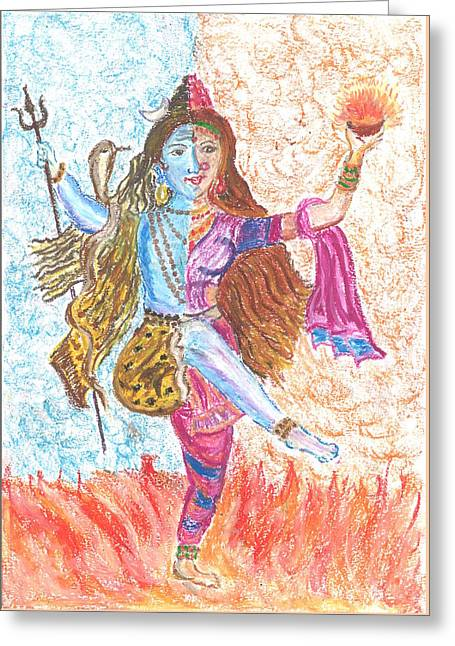 Cosmic Dance -- Shiva - Shakthi Greeting Card by Chitra Pandalai