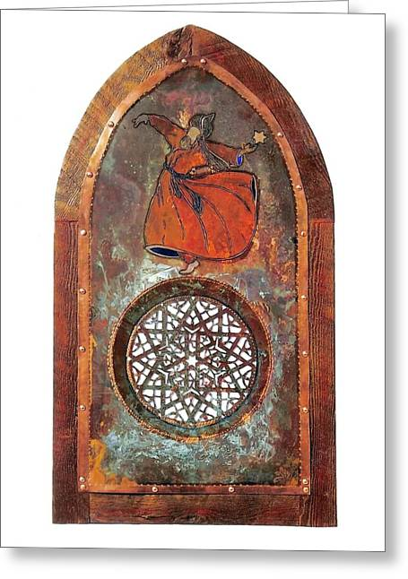 Andalucia Mixed Media Greeting Cards - Cosmic Dervish Greeting Card by Shahna Lax