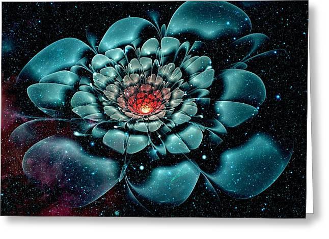 Cosmic Flower Greeting Card by Anastasiya Malakhova