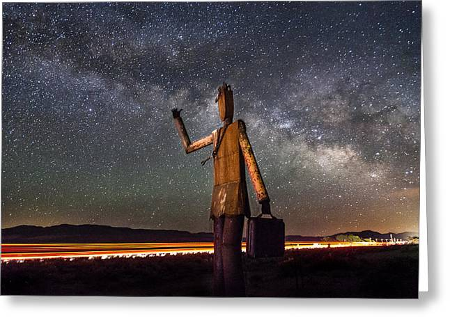 Eastern Sierra Greeting Cards - Cosmic Hitchhiker Greeting Card by Cat Connor