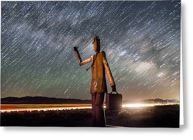 Night Photography Greeting Cards - Cosmic Hitchhiker II Greeting Card by Cat Connor