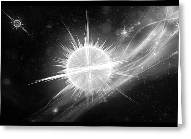 Angel Blues Greeting Cards - Cosmic Icestream BW Greeting Card by Shawn Dall