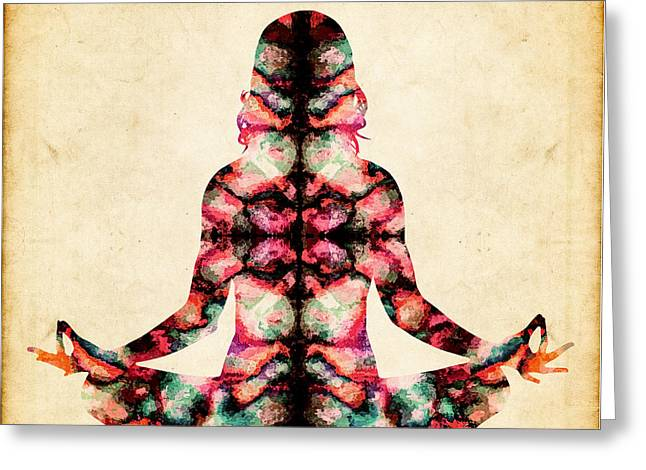 Cosmic Meditation - Abstract Greeting Card by Stacey Chiew