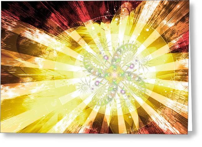 Cosmic Solar Flower Fern Flare 2 Greeting Card by Shawn Dall