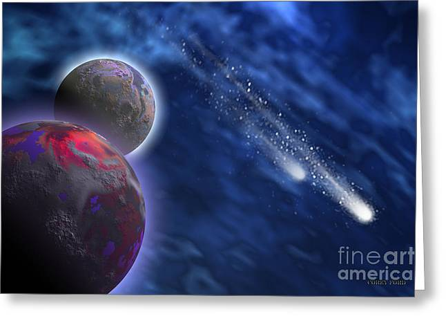 Cosmic Starlets Greeting Card by Corey Ford