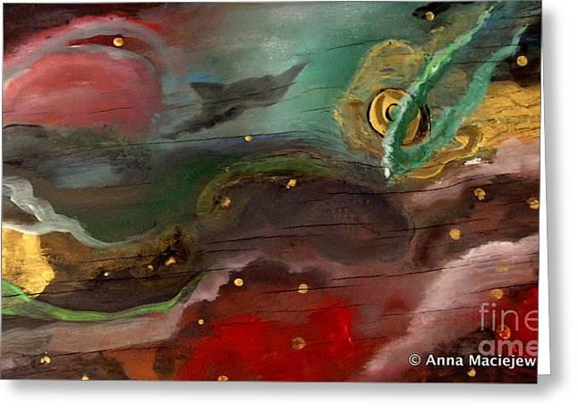 Cosmic Vision Greeting Card by Anna Folkartanna Maciejewska-Dyba