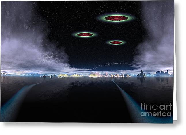 Cosmic Mixed Media Greeting Cards - Cosmic Visitor Greeting Card by Heinz G Mielke