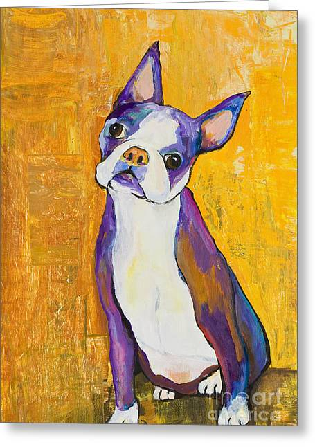 Boston Terrier Greeting Cards - Cosmo Greeting Card by Pat Saunders-White
