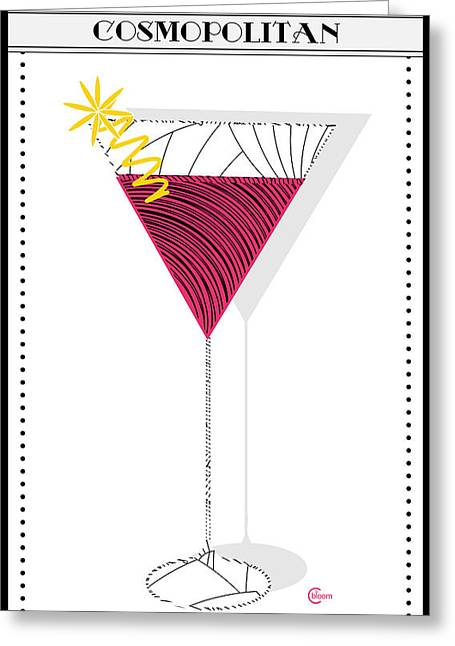 Libation Mixed Media Greeting Cards - Cosmopolitan Cocktail Deco Swing Greeting Card by Cecely Bloom