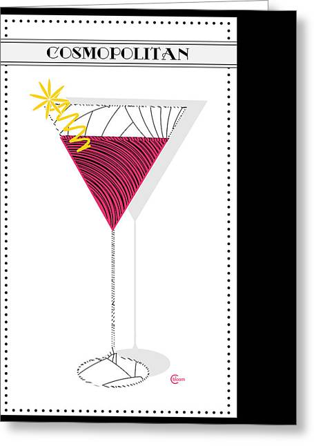 The Cocktail Hour Greeting Cards - Cosmopolitan Cocktail Deco Swing Greeting Card by Cecely Bloom