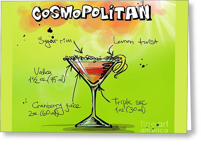 Cosmopolitan Cocktail Greeting Card by Spencer McKain