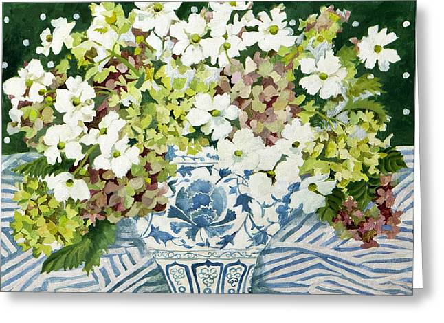 Cosmos Paintings Greeting Cards - Cosmos and hydrangeas in a chinese vase Greeting Card by Jennifer Abbot