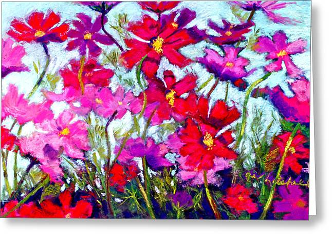 Flowers Pastels Greeting Cards - Cosmos Bouncing In The Breeze Greeting Card by Cheryl Whitehall