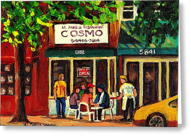 Montreal Diners Greeting Cards - Cosmos Famous Montreal Breakfast Restaurant Greeting Card by Carole Spandau