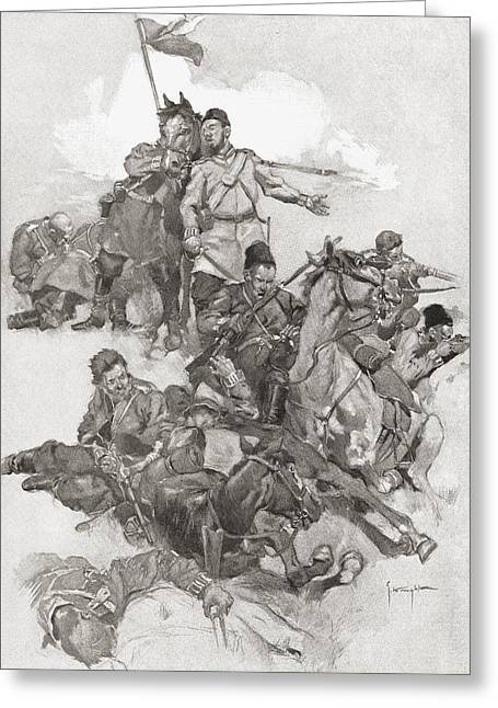 Formation Drawings Greeting Cards - Cossacks Fighting In Hollow Square Greeting Card by Ken Welsh