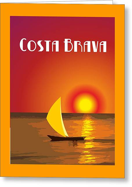 Costa Drawings Greeting Cards - Costa Brava  Greeting Card by Joaquin Abella