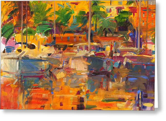Cote D'azur Reflections Greeting Card by Peter Graham
