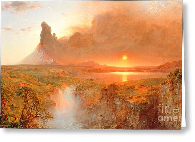 The Plateaus Paintings Greeting Cards - Cotopaxi Greeting Card by Frederic Edwin Church