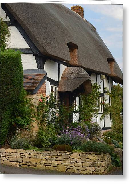 Cotswolds Thatched Cottage Greeting Card by Carla Parris
