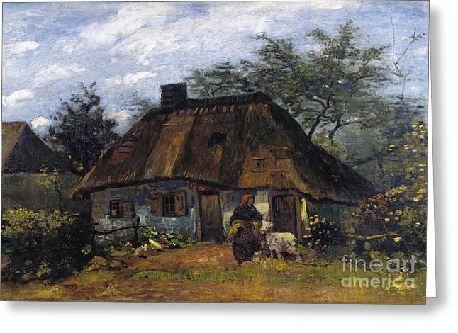 Vintage Painter Greeting Cards - Cottage and Woman with Goat - Farmhouse in Nuenen  Greeting Card by Van Gogh