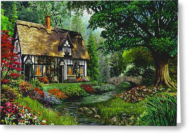 Cottage By The Brook Greeting Card by Ron Chambers