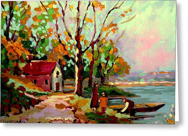 Walden Pond Greeting Cards - Cottage Country The Eastern Townships A Romantic Summer Landscape Greeting Card by Carole Spandau