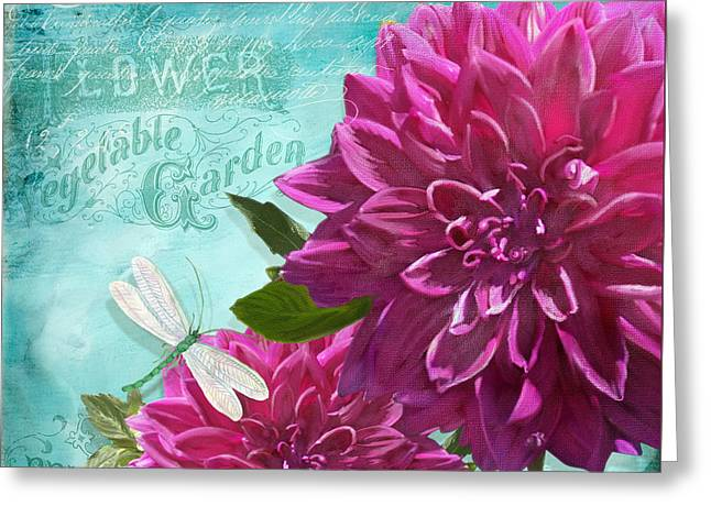 Bold Blossom Greeting Cards - Cottage Garden - Dinner Plate Dahlias w Dragonfly Greeting Card by Audrey Jeanne Roberts