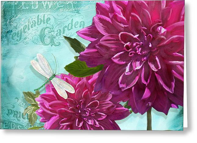 Dinner Mixed Media Greeting Cards - Cottage Garden - Dinner Plate Dahlias w Dragonfly Greeting Card by Audrey Jeanne Roberts