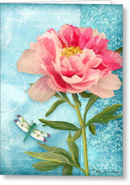 Cottage Garden Pink Peony W Dragonfly Greeting Card by Audrey Jeanne Roberts