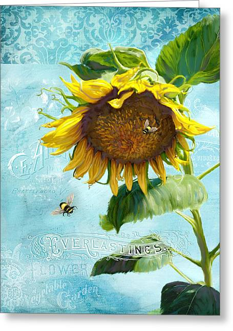 Bumble Greeting Cards - Cottage Garden Sunflower - Everlastings Seeds n Flowers Greeting Card by Audrey Jeanne Roberts