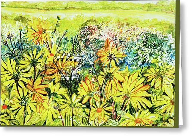 Cottage Gate Seen Through Sun Daisies Greeting Card by Joan Thewsey