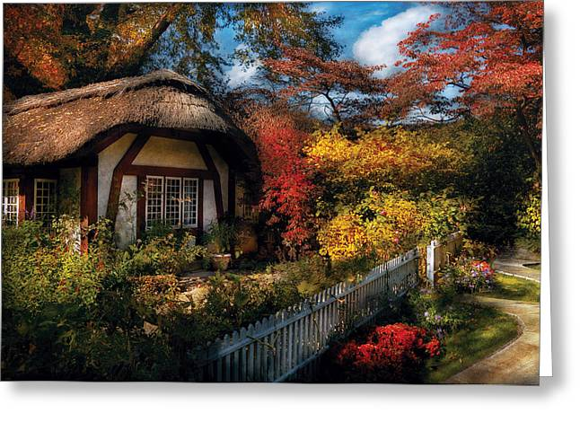 Cottage - Grannies Cottage Greeting Card by Mike Savad