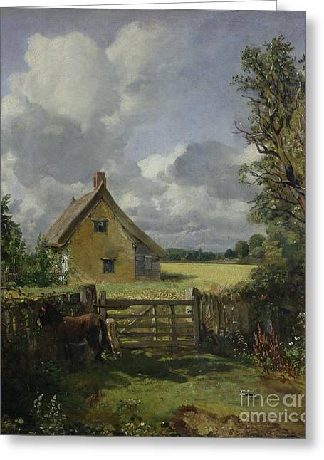 Foliage Greeting Cards - Cottage in a Cornfield Greeting Card by John Constable