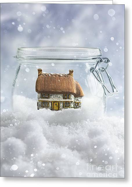 Cottage In Snow Greeting Card by Amanda And Christopher Elwell