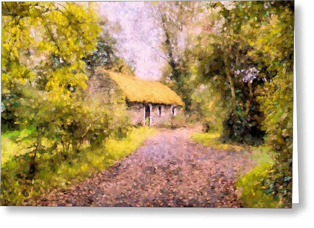 Country Cottage Mixed Media Greeting Cards - Cottage In The Country Greeting Card by Georgiana Romanovna