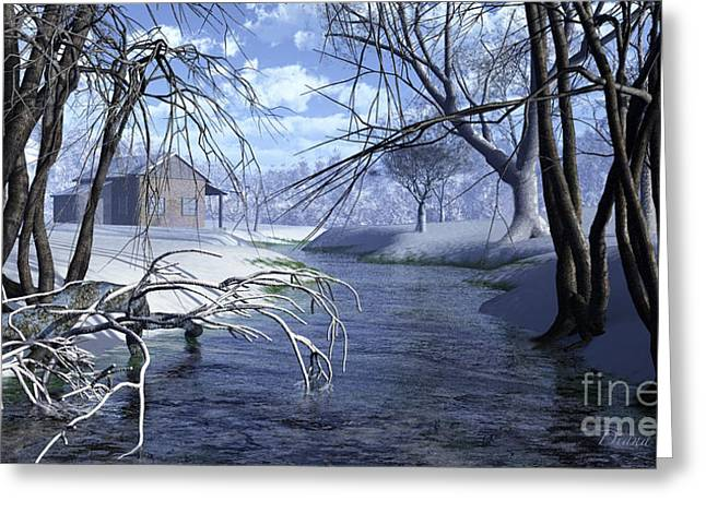 Snow Scene Landscape Greeting Cards - Cottage in the Snow Greeting Card by Diana  Voyajolu