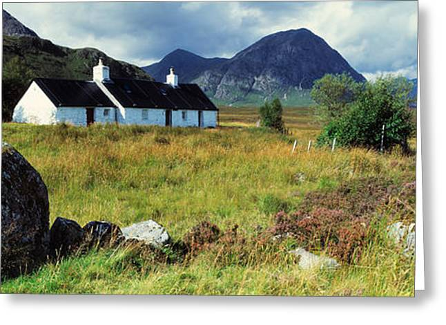 Buachaille Etive Mor Greeting Cards - Cottage On A Landscape, Black Rock Greeting Card by Panoramic Images