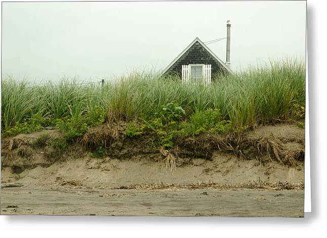 Maine Beach Greeting Cards - Cottage on the Beach Greeting Card by Vic Bouchard